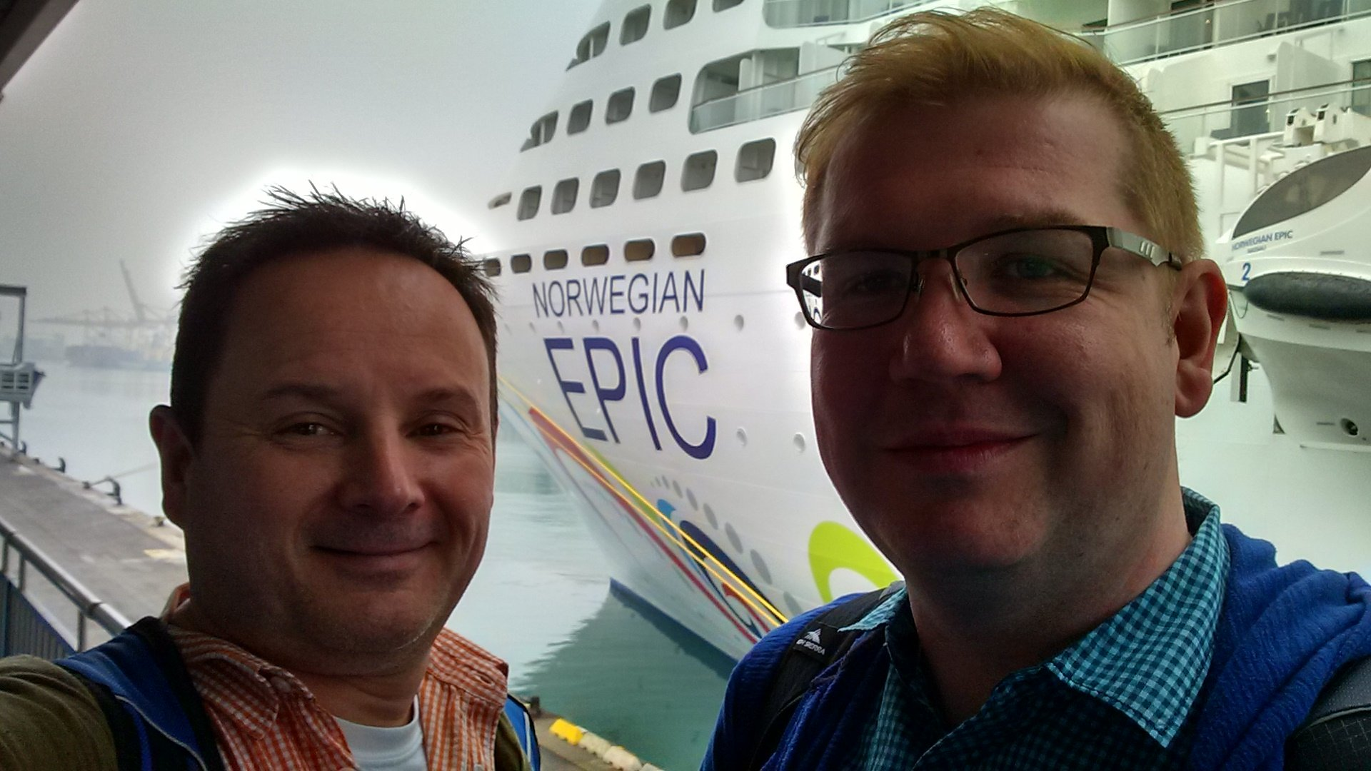 Roguetrippers getting ready to board the Norwegian Epic for our Mediterranean cruise from Spain to Italy in December 2016.