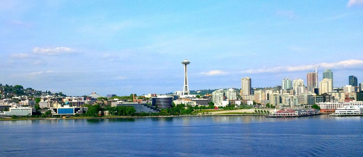 View of Seattle Washington skyline featuring the iconic Space Needle, taken as Roguetrippers embark on a cruise to Alaska.