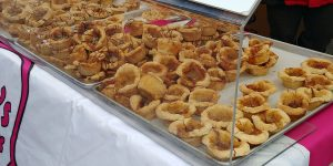 Carla's Cookie Box butter tart display at the Elmira Maple Syrup Festival, and annual festival in Elmira, Ontario.