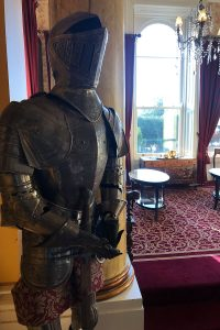 A Knight's suit of armour on display in Ballyseede Castle.