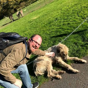 Jason & Stacy loved playing with Mr Higgins, one of the Irish wolfhound dogs that live at the castle.
