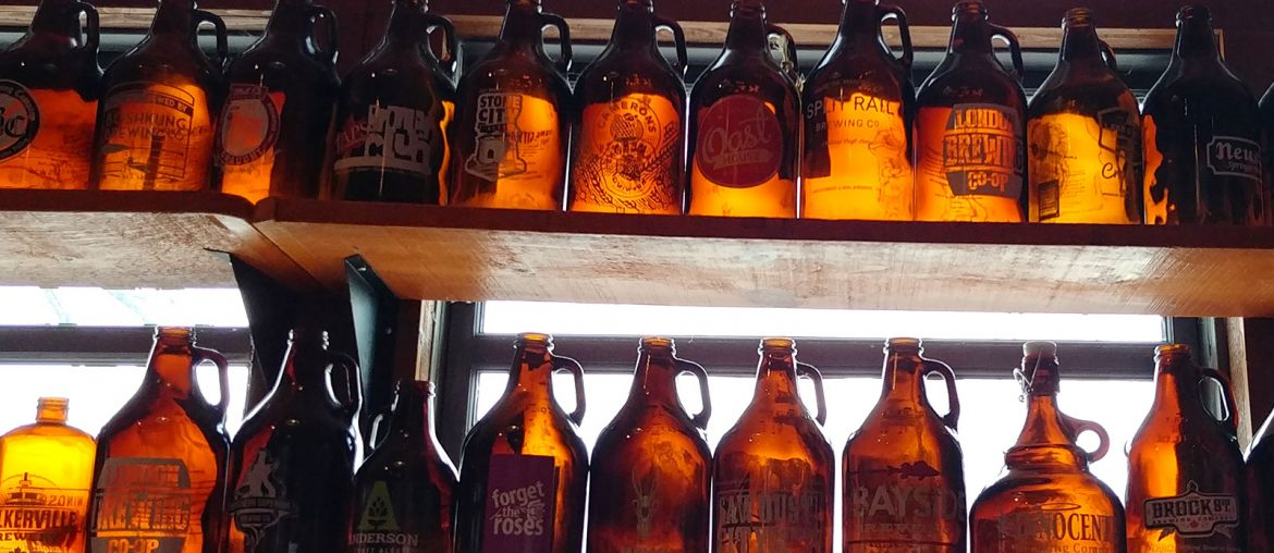 Growlers of many breweries visited by Roguetrippers