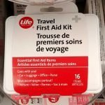 A simple travel first aid kit can be purchased at your local drug store like Shoppers Drug Mart
