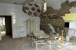 The hospital examination and operation g room in Pripyat has been visited by many.