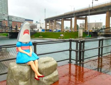 Roguetrippers check out Buffalo's iconic Shark Girl Statue at the Canal Side waterfront Park.