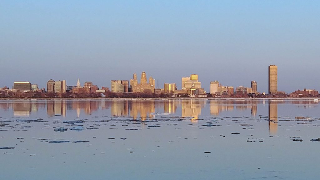Buffalo Skyline as viewed from Fort Erie, Ontario.