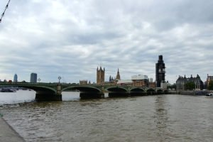 view of Big Ben from the River Thames