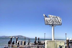 View of Alcatraz Island San Francisco Fishermans Wharf