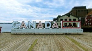 the Canada 150 3D sign on the Halifax waterfront Boardwalk