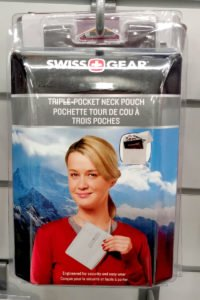Place your belongings in a neck pouch for safety