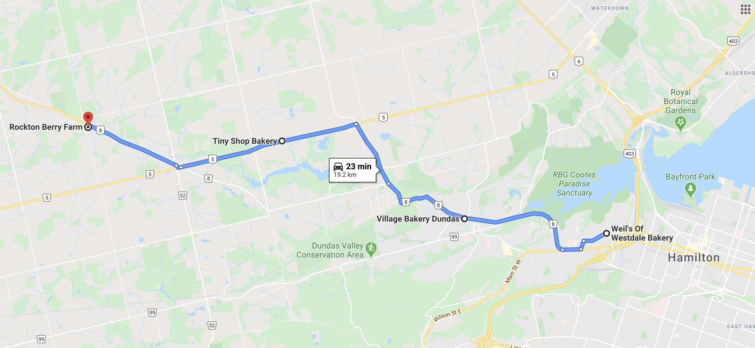 Map of the Hamilton Wentworth County area butter tart tour locations
