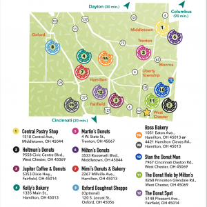The Map of the Butler County Donut Trail from the Butler county visitors bureau