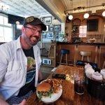Jason Dick enjoys big burger at the Whiskey Teller Annapolis Royal